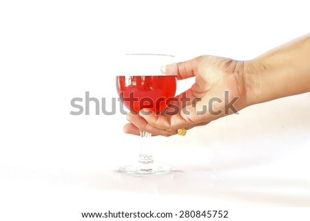 hands of  woman asia holding glasses of red wine, toasting, on white background