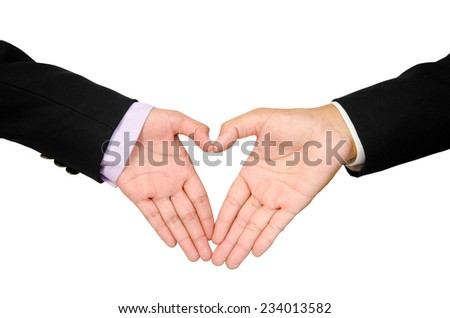 hands of woman business and man business heart shape. clipping path. - stock photo