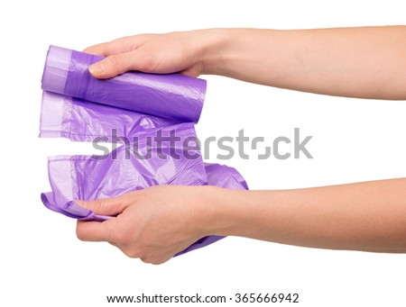 Hands off waste bag close up isolated on white background - stock photo