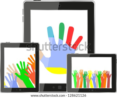 Hands on tablet pc screen. digital devices set, raster