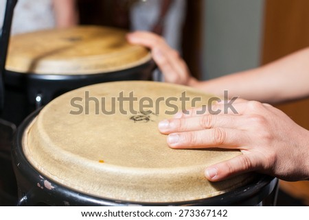 hands on the drum - stock photo