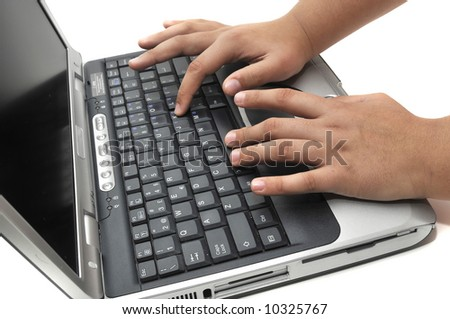 Hands on the keyboard on a white background