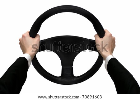 Hands on the steering wheel isolated on a white background - stock photo