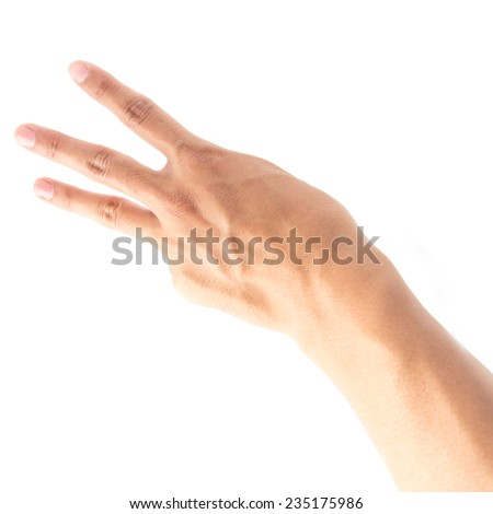 Hands on white background - stock photo