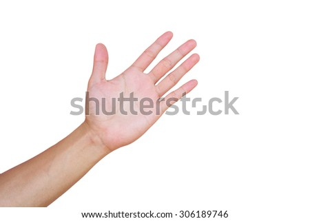 Hands on white background. - stock photo