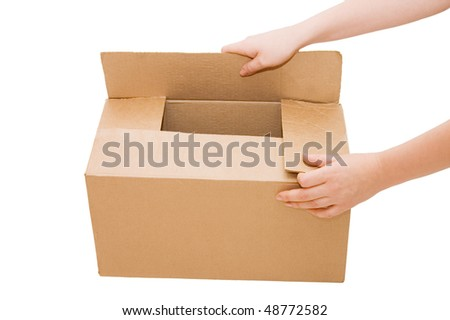 Hands open a cardboard box isolated - stock photo