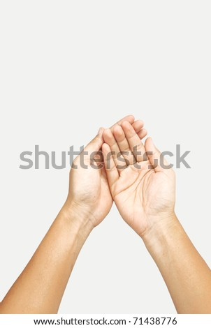 hands open. Isolated on white background - stock photo