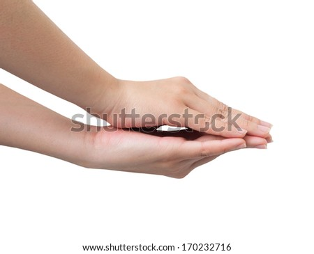 Hands overlapping Isolated on white background - stock photo