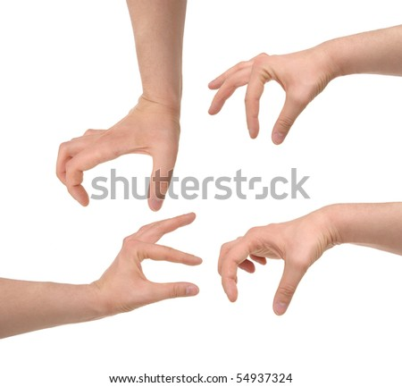 hands photo with clipping paths - stock photo