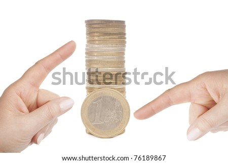 Hands pointing at money- concept for business, innovation, growth and money. isolated on white - stock photo