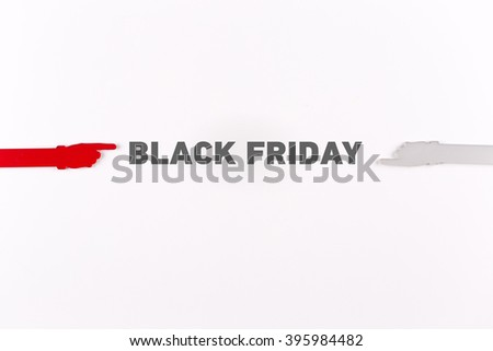 Hands pointing BLACK FRIDAY word - stock photo