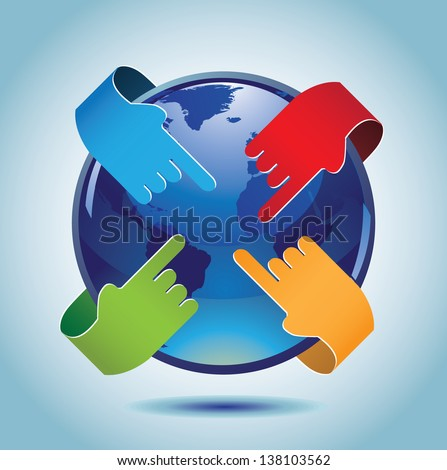 Hands pointing towards Earth. jpg. - stock photo