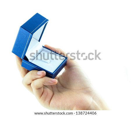 hands presented with open blue box for jewelry on white background
