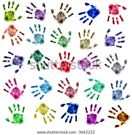 Hands Print (very detailed, 25 colors) - stock photo