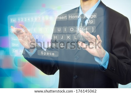 Hands pushing a button on a virtual touch screen - stock photo