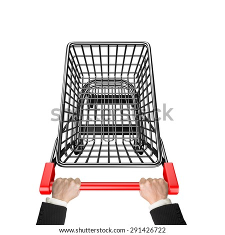 Hands pushing 3D empty shopping cart, high angle view, isolated on white.