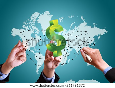 hands pushing strategy with finance structure worldwide - stock photo