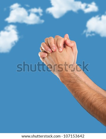 Hands put together in prayer position - stock photo