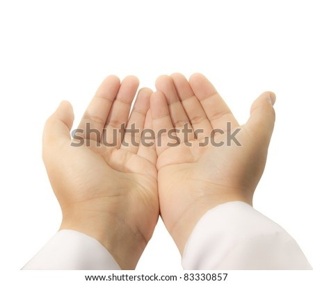 hands raised up to supplicate the almighty - stock photo