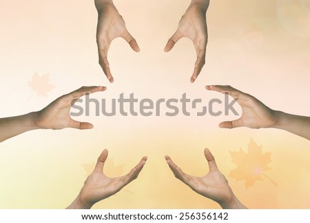 Hands reach for success and advancement in life. - stock photo