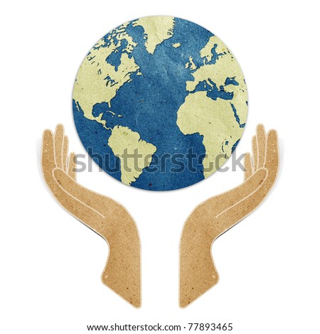 hands  recycled paper craft stick on white background Data source: NASA - stock photo