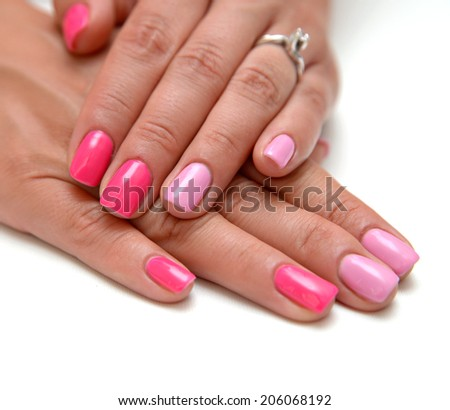 Hands red manicure shellac beauty concept  - stock photo