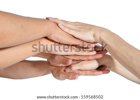 hands ring teamwork isolated on white background