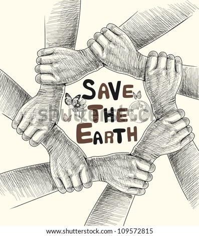 Hands save the earth drawing conceptual