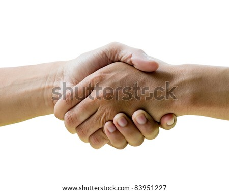 hands shake over white background - stock photo