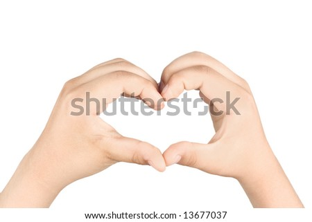 Hands shaping a heart isolated on white background - stock photo