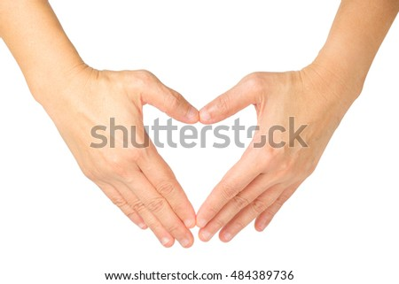 hands shaping a heart symbol on white background with clipping path