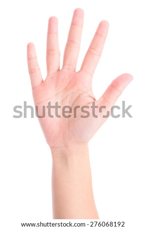 hands show the number five - stock photo