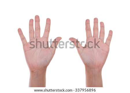 hands show the number ten isolated on white background