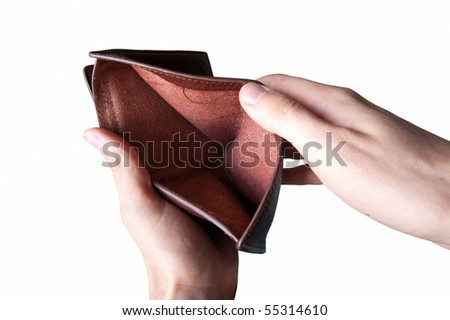 hands showing an empty wallet - stock photo