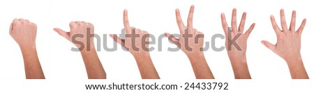Hands showing numbers