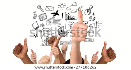 Hands showing thumbs up against brainstorm graphic - stock photo