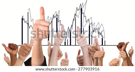 Hands showing thumbs up against graph - stock photo
