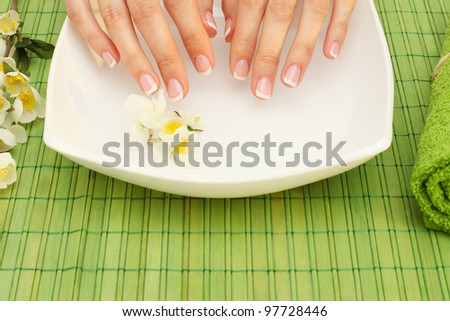 Hands spa - manicure in  beauty salon - stock photo