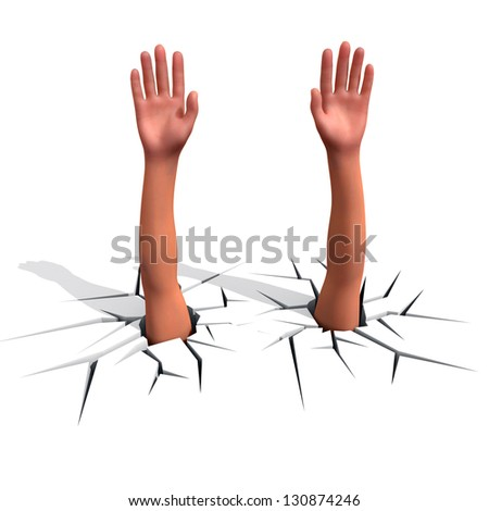 Hands sticks out of a crack in a floor, freedom concept. - stock photo