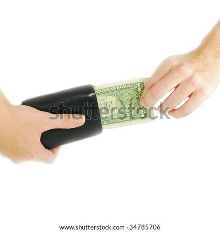 hands taking money from a wallet