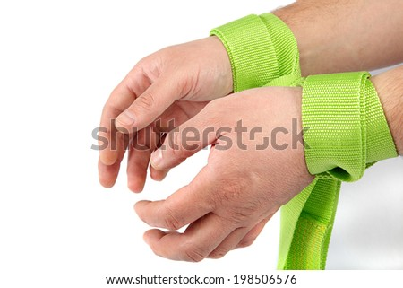 Hands tied isolated on white background. - stock photo