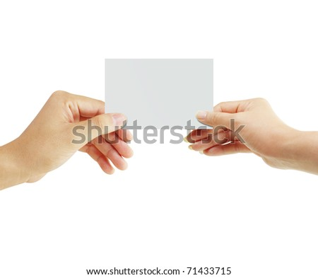 hands to the postcard - stock photo