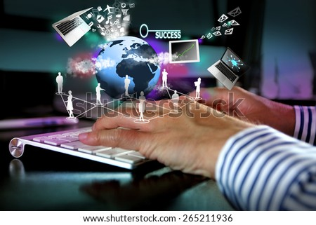 Hands typing keyboardHands typing keyboard, technology concept - stock photo