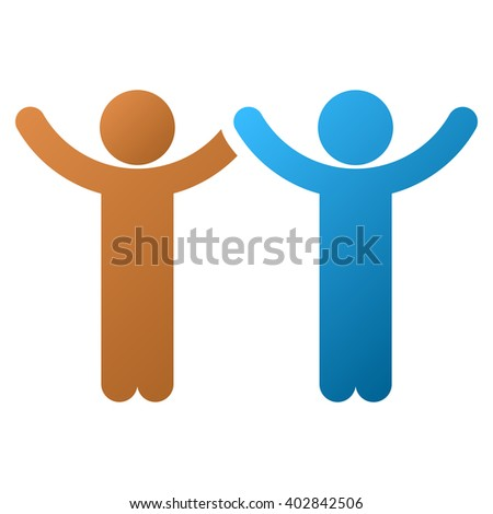 Hands Up Children glyph toolbar icon for software design. Style is a gradient icon symbol on a white background.