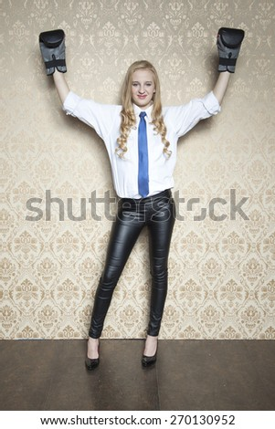 hands up in a gesture of victory - stock photo