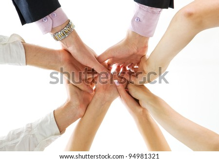 hands up of business team - stock photo
