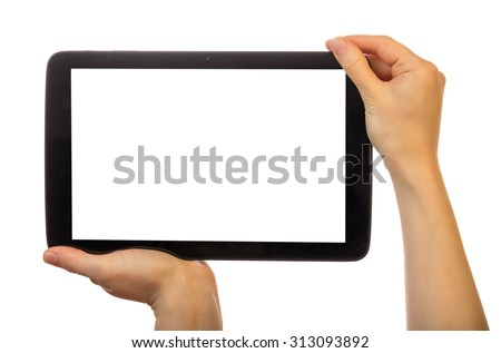 Hands using tablet pc with blank screen, isolated - stock photo