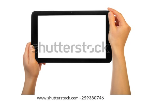 Hands using tablet pc with white screen, isolated - stock photo