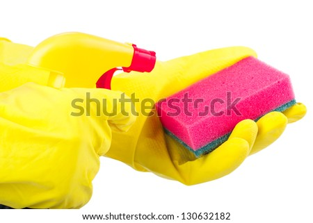 Hands wearing rubber gloves holding a sponge and cleaning spray bottle isolated on white