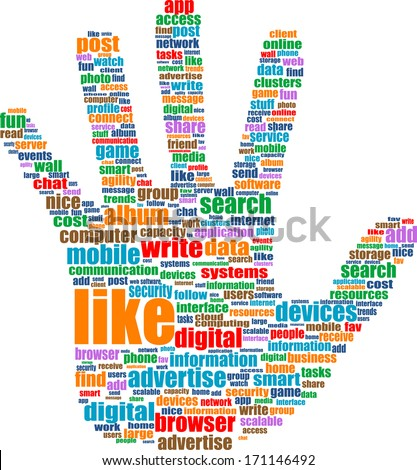 hands, which is composed of text keywords on social media themes. Isolated on white.